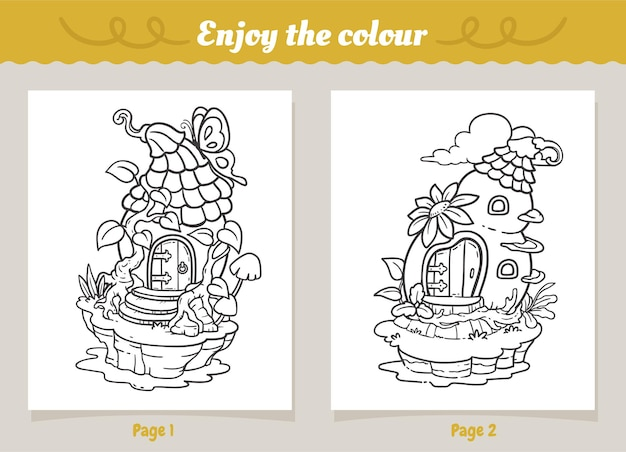 Casa delle fate sul lago da colorare per bambini
