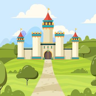 Sfondo di fiaba con castello. palazzo maestoso della costruzione con il castello medievale delle torri sul campo verde