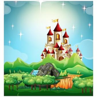 Fiaba castello background design Vettore Premium
