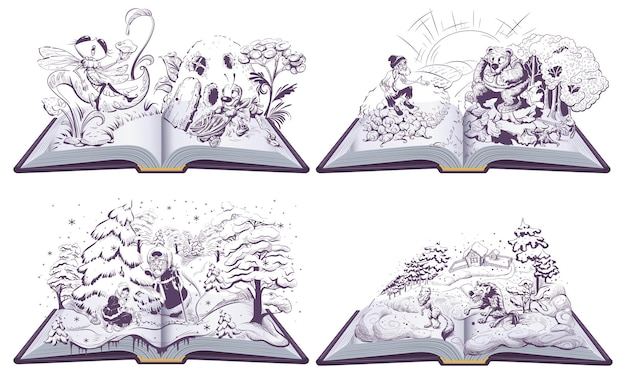 Set di fiabe illustrazione del libro aperto lupo e volpe vecchio e orso