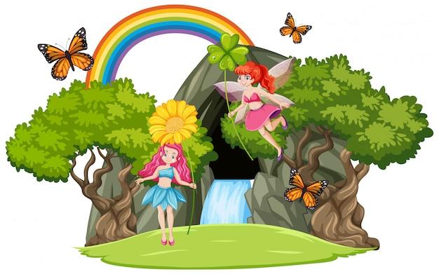 Fiabe con cascata grotta e arcobaleno isolato su sfondo bianco