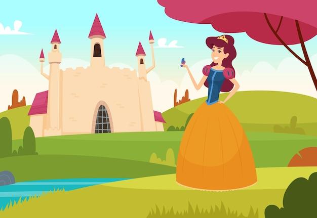 Sfondo da favola. concetto di fantasia del castello magico all'aperto della principessa abbastanza giovane. Vettore Premium
