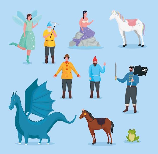 Illustrazione di raccolta di cartoni animati da favola