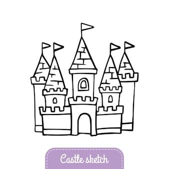 Castello da favola in stile scarabocchio