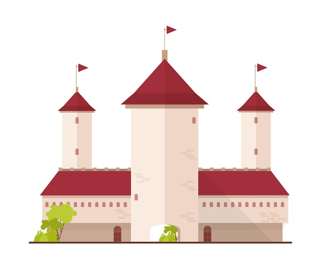 Castello da favola, fortezza o cittadella con torri e cancello isolato su bianco