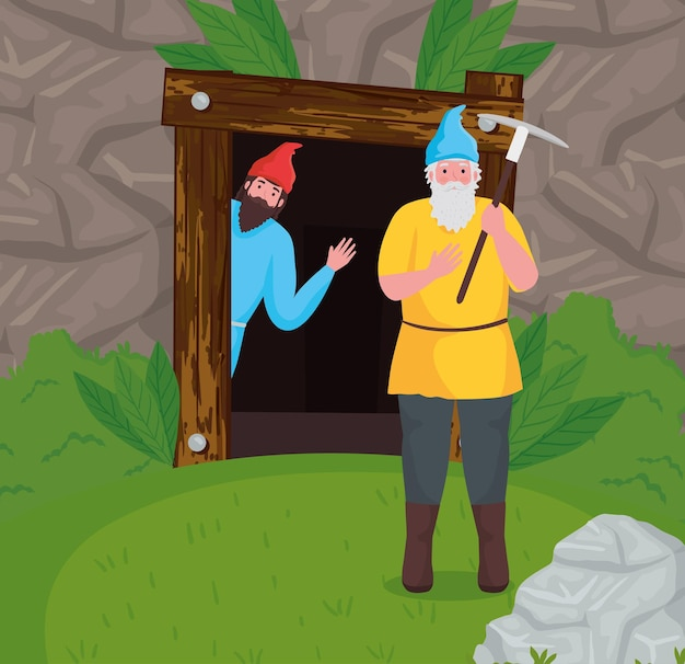 Cartoni animati di nani da favola all'illustrazione della foresta