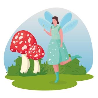 Fumetto di fata da favola con illustrazione di funghi
