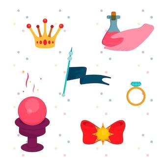 Illustrazione da favola del regno del fumetto impostato mano guidata della corona della regina con la barretta d'oro con anello di diamanti palla magica bandiera velenosa