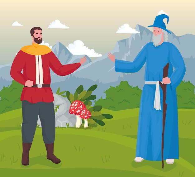 Fumetto del principe e del mago delle favole sull'illustrazione del paesaggio