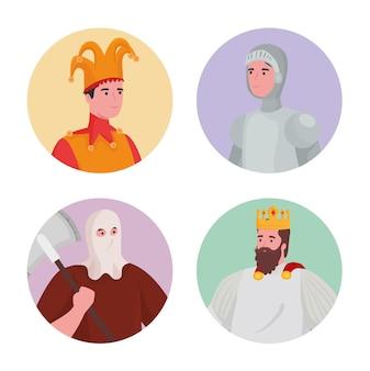 Illustrazione di raccolta di cartoni animati di persone da favola