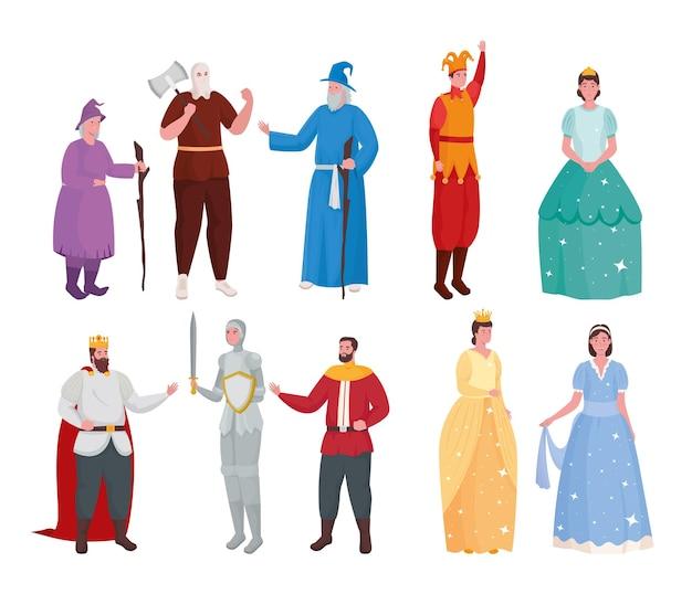 Cartoni animati di persone da favola impostare illustrazione