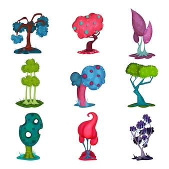 Set di alberi da favola, elementi del paesaggio di fantasia natura, dettaglio per l'interfaccia di gioco per computer illustrazioni su uno sfondo bianco