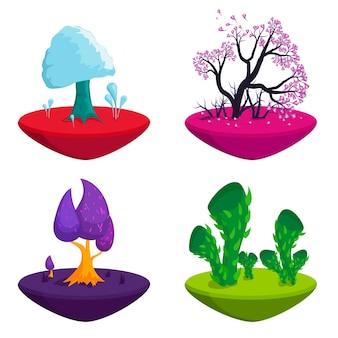 Set di alberi da favola. piante di fantasia natura elementi del paesaggio, alberi magici colorati divertenti.