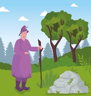 Fumetto della strega da favola sull'illustrazione del paesaggio