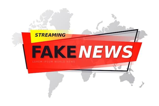 Banner di notizie false per la televisione in diretta con mappa del mondo