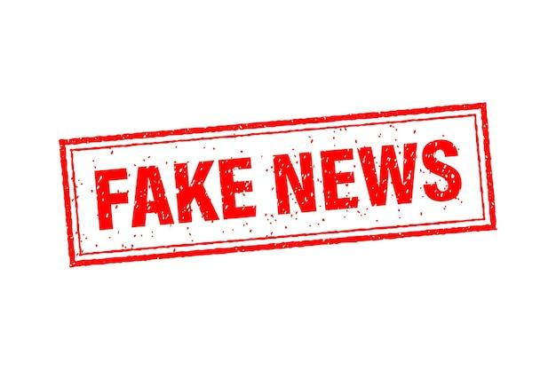 Timbro di notizie false in stile piatto su bianco