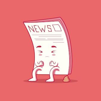 Giornale falso illustrazione vettoriale simpatico personaggio informazioni notizie concetto di design divertente
