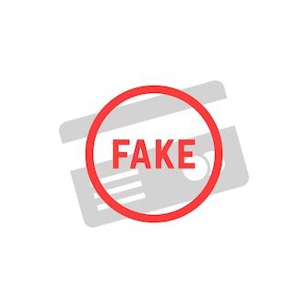 Carta di plastica semplice falsa. concetto di id sicuro, e-commerce, clone non valido, autenticazione, bugia, errore, finzione, attenzione, errore, hacker. stile piatto logo design illustrazione vettoriale su sfondo bianco