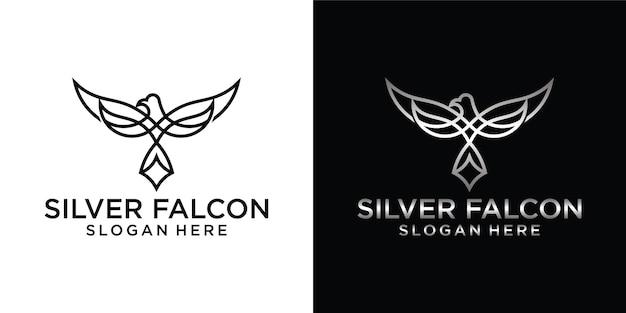 Falco, falco, aquila contorno logo design illustrazione