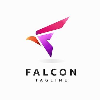 Logo del falco con la lettera f concept