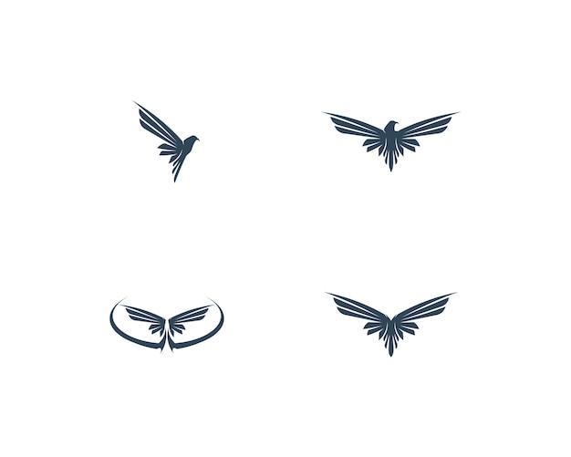 Progettazione dell'icona di vettore del modello di logo dell'ala di falcon Vettore Premium