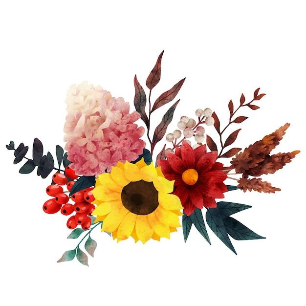 Bouquet autunnale composizione d'arte autunnale arte vettoriale