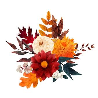 Vettore disegnato a mano della composizione floreale di autunno del mazzo di caduta