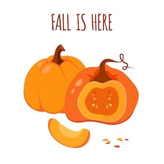 L'autunno è qui. umore autunnale con zucche disegnate arancioni.