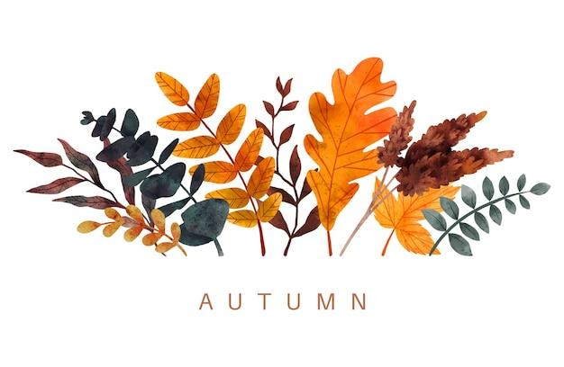Acquerello disegnato a mano di vettore della composizione delle foglie di caduta