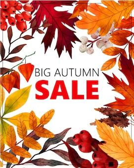 Foglie di autunno cornice autunno banner arte disegnata a mano