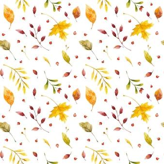 Foglie di autunno reticolo senza giunte dell'acquerello autunno foresta fiori selvatici e mirtillo rosso