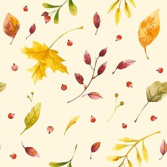 Foglie autunnali senza cuciture ad acquerello foglie e bacche di autunno piante selvatiche stagionali