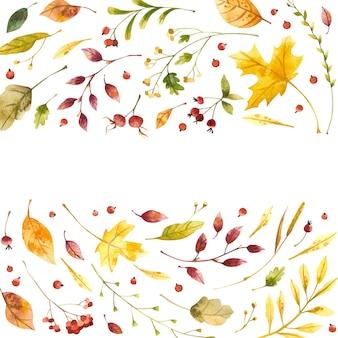 Cornice quadrata dell'acquerello di foglie d'autunno con posto per il testo