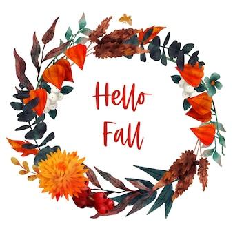 Vettore disegnato a mano della struttura floreale di autunno della ghirlanda di caduta