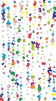 Numeri brillanti in calo. concetto di studio matematico con cifre volanti. fine torna a banner di matematica scuola su sfondo bianco. illustrazione di vettore di numeri che cadono.