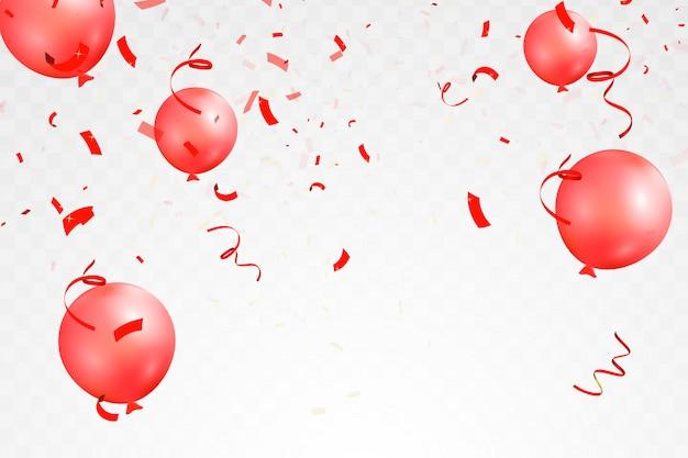 Coriandoli rossi brillanti luminosi di caduta, nastro, celebrazione delle stelle, serpentino, pallone isolato. coriandoli che volano sul pavimento.