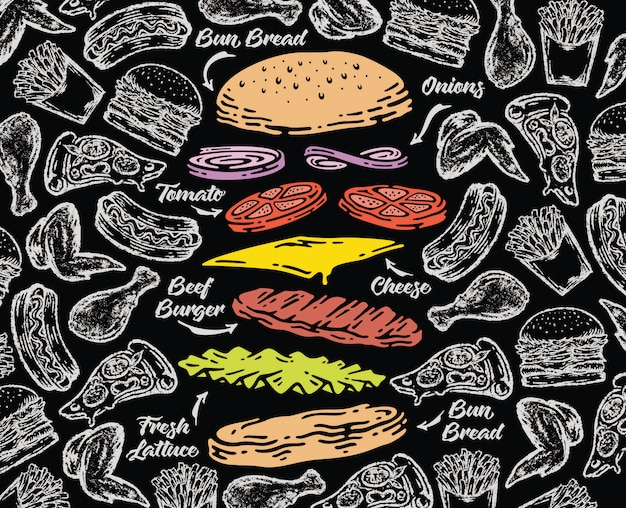 Hamburger che cade su sfondo lavagnaboard