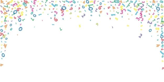 Numeri disordinati colorati che cadono. concetto di studio matematico con cifre volanti. affascinante banner di matematica a scuola su sfondo bianco. illustrazione di vettore di numeri che cadono.