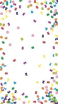 Numeri colorati che cadono. concetto di studio matematico con cifre volanti. seducente torna a banner di matematica scuola su sfondo bianco. illustrazione di vettore di numeri che cadono.