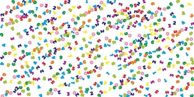 Numeri colorati che cadono. concetto di studio matematico con cifre volanti. divertente torna a banner di matematica scuola su sfondo bianco. illustrazione di vettore di numeri che cadono.