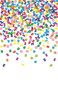 Numeri colorati che cadono. concetto di studio matematico con cifre volanti. magnetico back to school matematica banner su sfondo bianco. illustrazione di vettore di numeri che cadono.