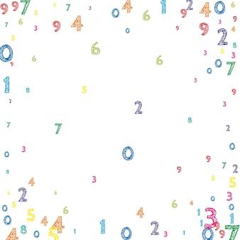 Numeri ordinati colorati che cadono. concetto di studio matematico con cifre volanti. fantastico banner di matematica di ritorno a scuola su sfondo bianco. illustrazione di vettore di numeri che cadono.