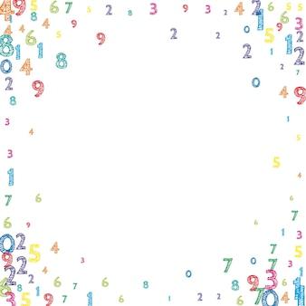 Numeri ordinati colorati che cadono. concetto di studio matematico con cifre volanti. extra back to school matematica banner su sfondo bianco. illustrazione di vettore di numeri che cadono.