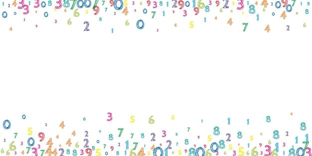 Numeri ordinati colorati che cadono. concetto di studio matematico con cifre volanti. memorabile torna a scuola matematica banner su sfondo bianco. illustrazione di vettore di numeri che cadono.