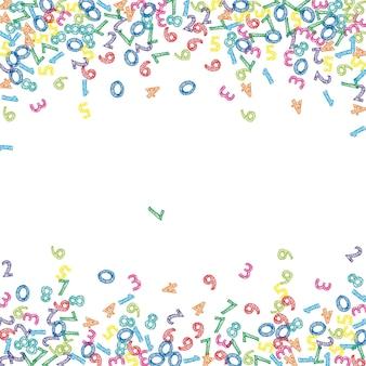 Numeri di schizzo colorati che cadono. concetto di studio matematico con cifre volanti. fine torna a banner di matematica scuola su sfondo bianco. illustrazione di vettore di numeri che cadono.