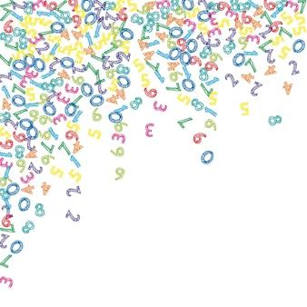 Numeri di schizzo colorati che cadono. concetto di studio matematico con cifre volanti. immacolata torna a scuola matematica banner su sfondo bianco. illustrazione di vettore di numeri che cadono.
