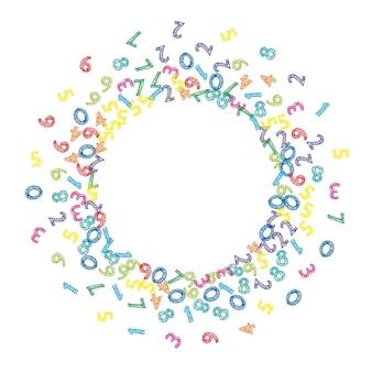 Numeri di schizzo colorati che cadono. concetto di studio matematico con cifre volanti. indelebile torna al banner di matematica della scuola su sfondo bianco. illustrazione di vettore di numeri che cadono.