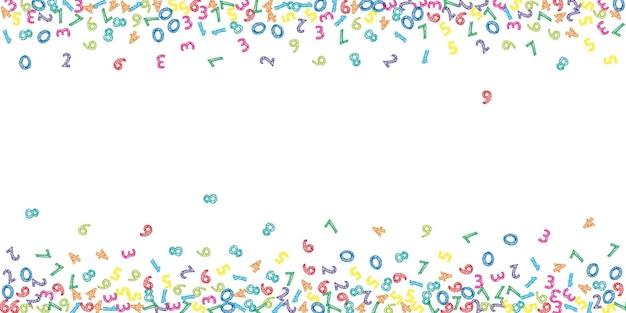 Numeri di schizzo colorati che cadono. concetto di studio matematico con cifre volanti. mesmeric torna al banner di matematica della scuola su priorità bassa bianca. illustrazione di vettore di numeri che cadono.