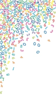 Numeri di schizzo colorati che cadono. concetto di studio matematico con cifre volanti. risplendente di nuovo al banner di matematica della scuola su priorità bassa bianca. illustrazione di vettore di numeri che cadono.