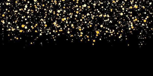 Coriandoli che cadono. sfondo dorato a pois. trama glitter oro. illustrazione.